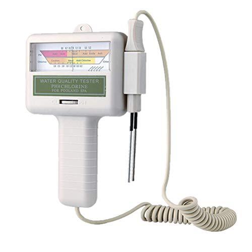 Medidor de pH, medidor portátil de pH 2 en 1 y análisis de medidor de nivel de cloro cloro Monitor de calidad del agua para piscinas, acuarios, piscinas, monitores de estanques