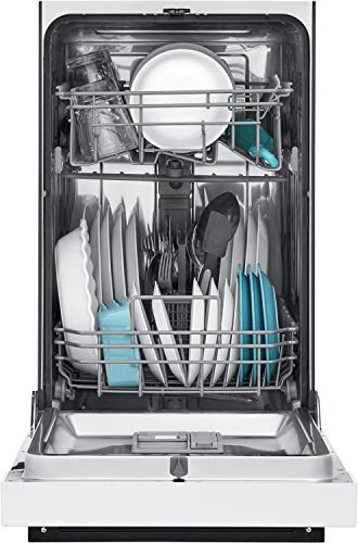 Frigidaire 18 in. ADA Compact Front Control Dishwasher in White with Dual Spray Arms, 52 dBA, includes room-of-choice delivery