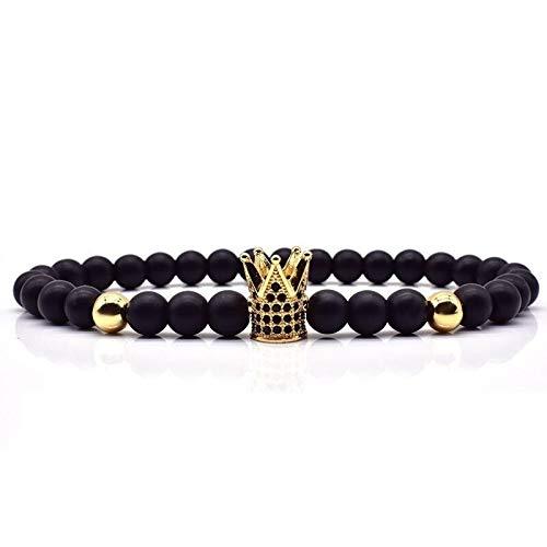 CHCO Pulsera corona león pulsera hombres mujeres 6mm piedra mate cuentas encanto pulsera moda para hombres mujeres joyería clásica regalo corona oro