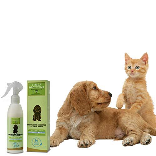 Protezione Vegetale Spray con Olio di Neem per Cani e Gatti - Repellente Contro Pulci, Zecche e Zanzare - Azione Naturale Contro i parassiti - Linea 101, 250ml