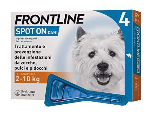 Frontline | Spot On Cani e Cuccioli | Protezione da zecche, pulci e pidocchi | 4 Pipette | Cane S (2 - 10 kg)