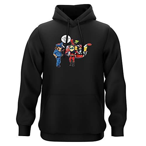 Okiwoki Sweat-Shirt à Capuche Noir Parodie Goldorak - Actarus - Papiers du véhicule s'il Vous plaît ! (Sweatshirt de qualité Premium de Taille L - imprimé en France)