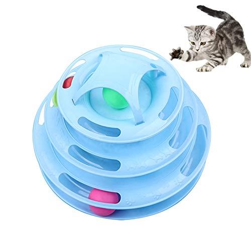 WELLXUNK Gatto Giocattolo Torre di Tracce,Giocattolo per Gatti,Gioco Gatto Interattivo,Giocattolo Gatto Traccia,Gioco Interattivo con Palline Rotanti,per Il Gioco e l\'addestramento del Gatto(Blu)