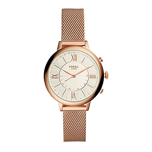Fossil Women's 36mm Jacqueline Stainless Steel Mesh Hybrid Smart Watch, Color: Rose Gold (Model: FTW5018)