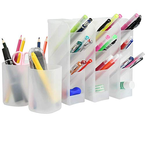 YOTINO 5Pcs Desk Organizer for Office Studio School, Translucent White Pen Storage Holder High Capacity(white)