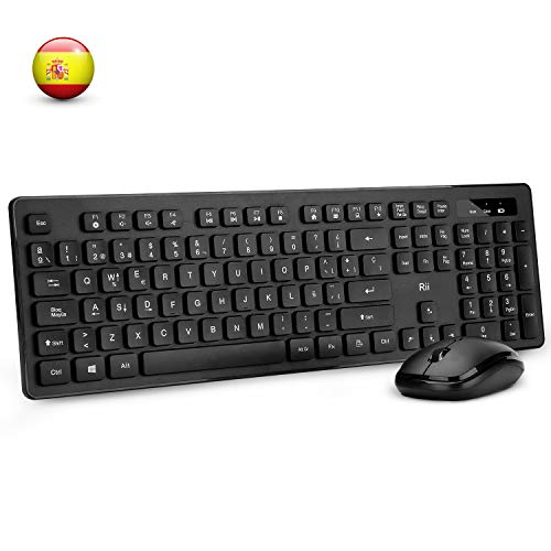 Rii RK102 Combo Teclado y ratón inslámbricos. Teclado numérico. Ideal para ofimática, Windows/Android TV Box/Raspberry Pi/PC/Portátil/PS3/4.