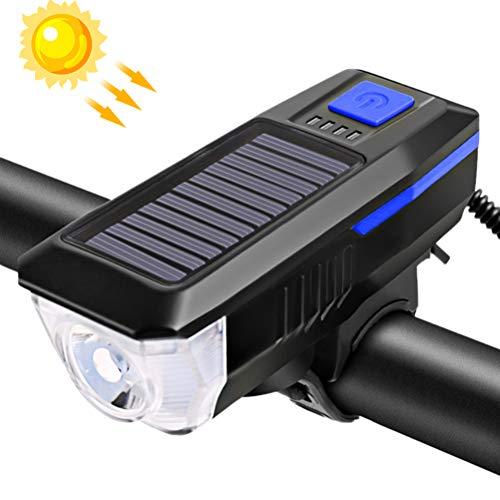 Yuciya Fahrradscheinwerfer, USB Wiederaufladbare Solar Fahrradlicht Fahrradscheinwerfer Wasserdicht 350 Lumen mit Fahrradklingel für Fahrradfahrsicherheitswarnung