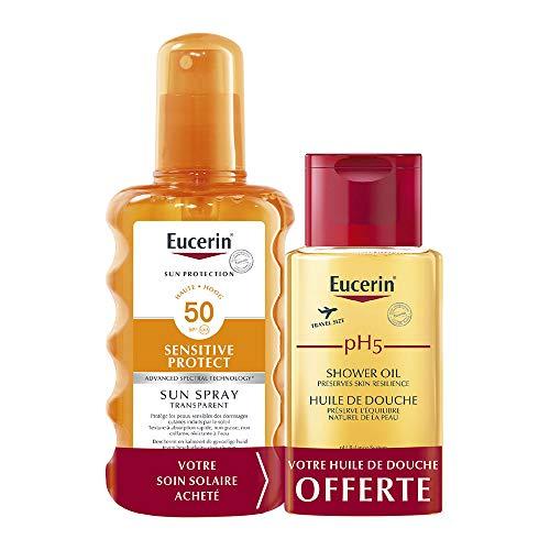Eucerin Sun Protection Sensitive Protect Sun Spray Transparent SPF50 200 ml + PH5 Huile de Douche 100 ml Offerte