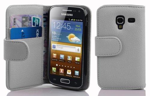 Cadorabo Hülle für Samsung Galaxy ACE 2 - Hülle in Magnesium WEIß – Handyhülle mit Kartenfach aus struktriertem Kunstleder - Hülle Cover Schutzhülle Etui Tasche Book Klapp Style