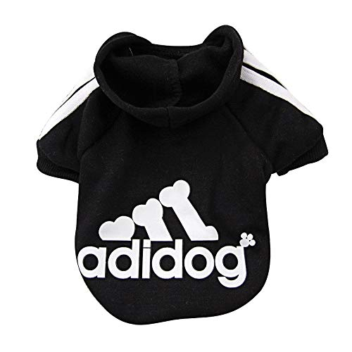 Rdc Pet Adidog Dog Hoodies, Apparel, Fleece Basic Hoodie Sweater, Cotton Jacket Sweat Shirt Coat for Small Dog & Medium Dog & Cat (Black,S)