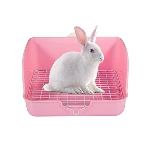 DC CLOUD Jaula Conejo Baño Lecho para Conejos Rabbit Toilet Cat Litter Tray Hamster Toilet Rabbit Litter Tray Pellets Rat Litter Tray Rabbit Litter Box Pink