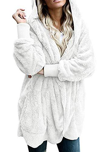 Zilcremo Mujer Lana Chaqueta Cárdigan con Capucha Frente Abierto Abrigo Fleece de Piel Sintética Invierno Beige XL