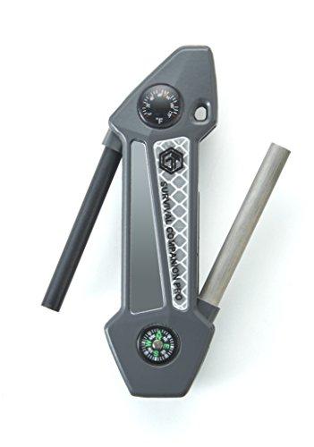 Off Grid Tools Survival Companion Pro Aluminum Fire Starter & Camping Multi Tool, Gun Metal Grey