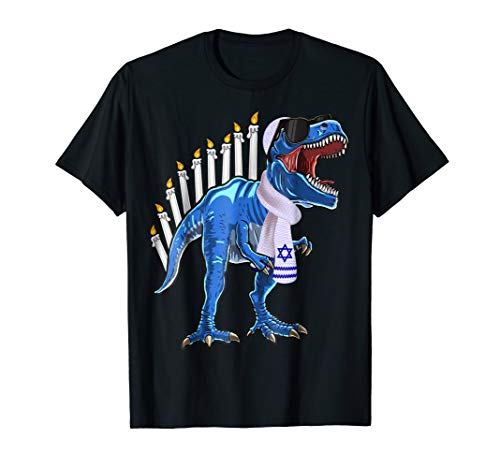 Menorasaurus Rex Shirt T Rex Dinosaur Hanukkah Gift for Boys