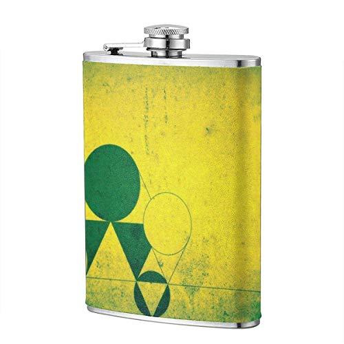 XBYC Grüner und gelber geometrischer Kolben für Alkohol und Trichter Edelstahlkolben zum Trinken von Alkohol, Whisky, Rum und Wodka 8 Unzen