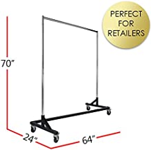 Commercial Garment Rack (Z Rack) - Rolling Clothes Rack, Z Rack With KD Construction With Durable Square Tubing, Commercial Grade Clothing Rack, Heavy Duty Chrome Commercial Garment Rack - Black