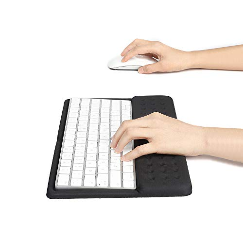 Buwico 2 in 1 Keyboard Wrist Rest Pad Wrist Support Keyboard Mat Wrist Rest Mouse Pad for Apple Magic Keyboard 2 (Black)