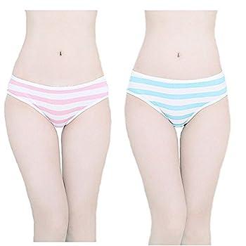 TOMORI Hot Cute Japanese Style Blue&pink Stripe Panties Bikini Cosplay Cotton Underwear Blue/Pink Medium