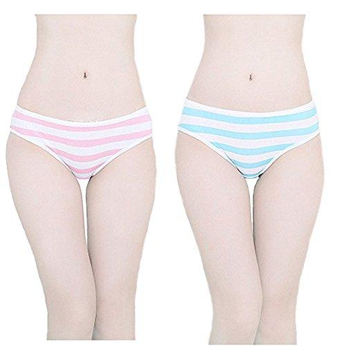 Hot Cute Japanischer Stil Blau & Pink Streifen Höschen Bikini Cosplay Baumwolle Unterwäsche - - Medium