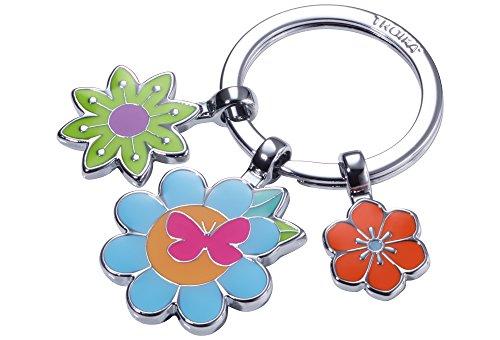 TROIKA Bouquet – KR18-03/CH – Schlüsselanhänger mit 3 Anhängern – Blumen - Blumenwiese - Frühling - bunt – Metallguss/Emaille– glänzend – verchromt – Mehrfarbig – TROIKA-Original