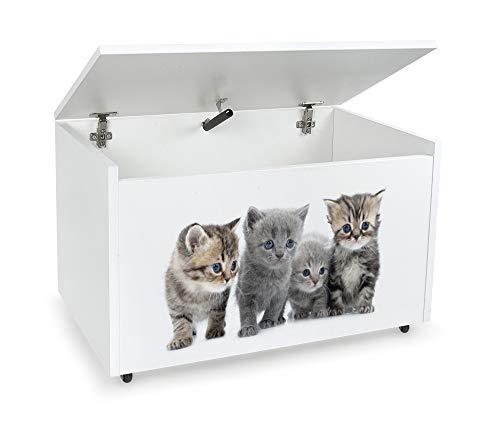 LEOMARK Blanco Caja de madera banco con almacenamiento para juguetes con Asiento, Baúl de juguetes sobre ruedas, Dim: 71 cm x 40.5 cm x 45 cm/WxDxH/ (Gatos)