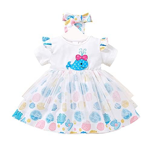 Binxory Vestidos para bebés y niñas, vestido de verano de manga corta, vestido de princesa, vestido de fiesta casual