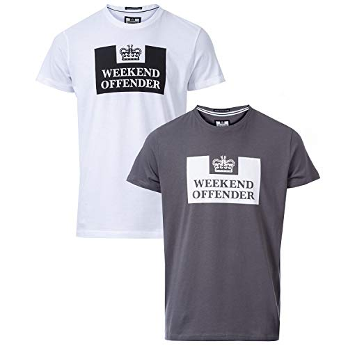 Weekend Offender Siegel - Juego de 2 Camisetas, Color Gris y Blanco