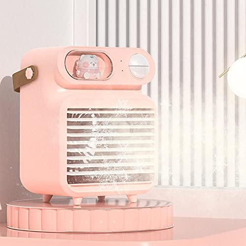 Mini refrigerador de aire, purificador de aire, ventilador de agua refrigerado por agua de dibujos animados usb, ambiente de luz del hogar humidificador de luz-Rosa_13 * 11 * 18cm