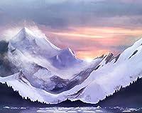 数字で描くDIY油絵の具山氷流氷の霧キャンバス結婚式の装飾アート写真ギフト絵画キャンバスアクリル絵の具 カスタマイズ可能 40x50cmフレームなし