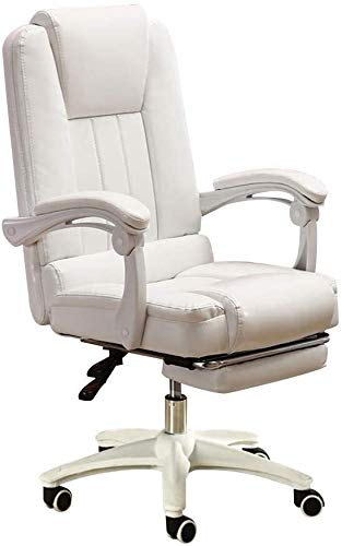 Armchairs GSN Computer Chair High-Back PU Leather Computer Desk Chair with Footrest Reclining E-sports Game Seat Ergonomic Video Game Swivel Chair Bearing Capacity: 330lbs (Color : White)