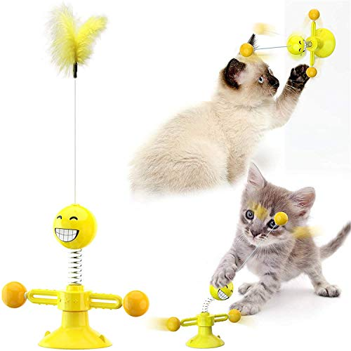 Arlando Katzenspielzeug, Federspielzeug Katzenball mit Drehscheibe Bälle Feder Saugnapf schwenkbar Katzenstock Interaktives Spielzeug 360 °drehbar für Katzen Spielen Kratzen Kauen Beschäftigung