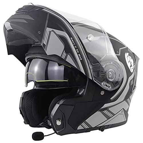 Casco Moto Modulare Apribile Bluetooth Integrato Casco Flip Up Full Face Omologato ECE DOT Casco Per Moto Integrale Con Doppia Visiera Casco Da Ciclomotore Per Adulto Uomo E Donna F,4XL