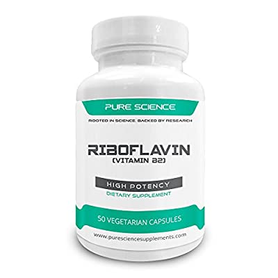 Pure Science Riboflavin 400 mg (Vitamin B2) - Promotes Energy & Red Blood Cell Production, Regulates Growth & Development, Promotes Nerve Health - 50 Vegetarian Capsules by Pure Science