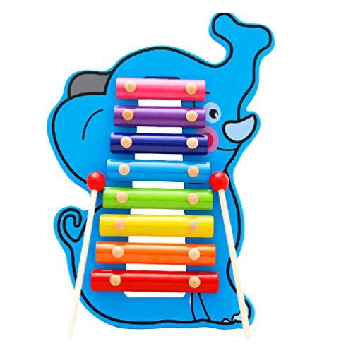 NUOBESTY Elefant Xylophon Musikinstrumente Kleinkind Musikinstrumente Kinder Holz Schlagzeug Spielzeug