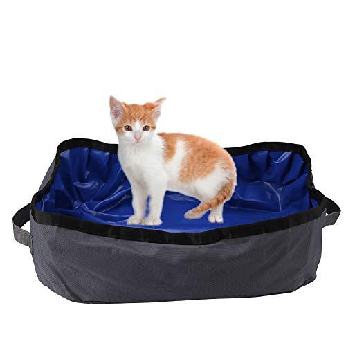 Pssopp Katzentoilette Faltbar Katzen Katzenklo Tragbare Katzen Toilette Wasserdichte Katzentoilette, leicht zu reinigen, tragen und speichern für Indoor Outdoor Reise Verwenden(Grau)