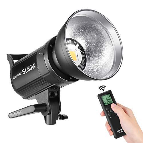 Neewer SL-60W LED Video Luz Blanca 5600K Versión, 60W CRI 95+, TLCI 90+ con Control Remoto y Reflector, Montaje Bowens de Iluminación Continua para Video, Fotografía al Aire Libre