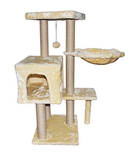 WIKI キャットタワー 猫タワー 据え置き 全麻巻き 90cm高さ ハンモック 隠れ家 おもちゃつき (ベージュ)
