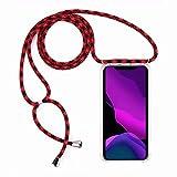 2ndSpring Funda con Cuerda Compatible con Huawei Mate 9,Colgante Collar Correa de Cuello Cadena Cordón,Rojo Negro