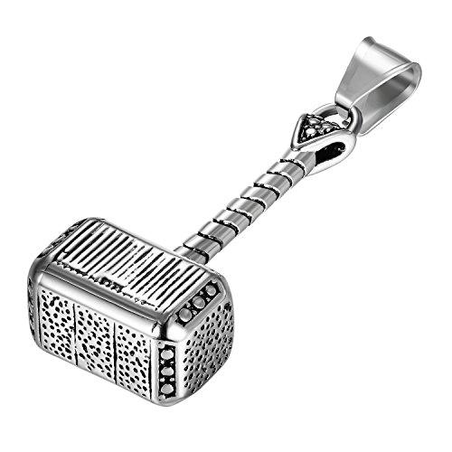 JewelryWe Schmuck Herren Halskette Edelstahl Retro Thors Hammer Anhänger mit 55cm Kette Geschenk Silber