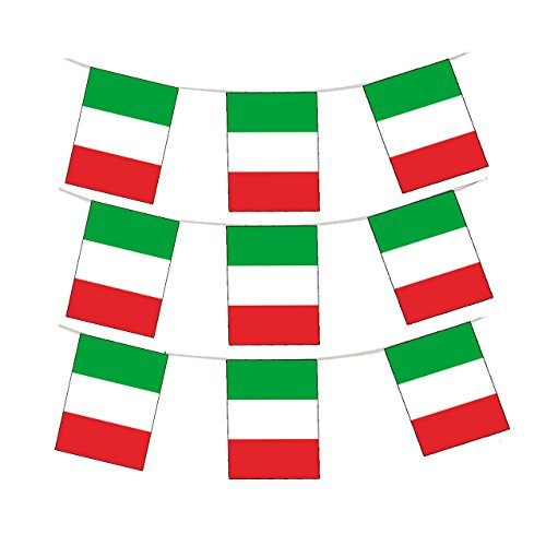 GrassVillage MEGA VALUE 24 Flags Quality Italy flag Bunting 10m/30 FEET Party Decoration Italian Bunting Banner for World Cup 2018 Day or Party Decoration