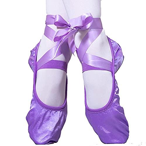 Zapatillas de Ballet para niños pequeños Satén Zapatillas de Baile para niños (niñas/niño/niño pequeño) (Color : Purple, Size : 38 EU)