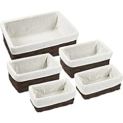 Wicker Basket, Decorative Storage Baskets (Brown, 5 Piece Set)