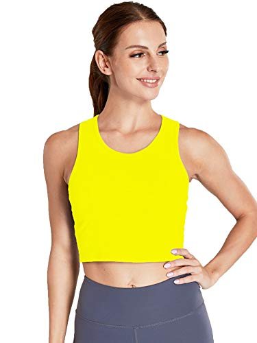 Move With You Women's Crop Tank Tops Longline Sports Bra with Built-in Bra Workout Running Neon Yellow