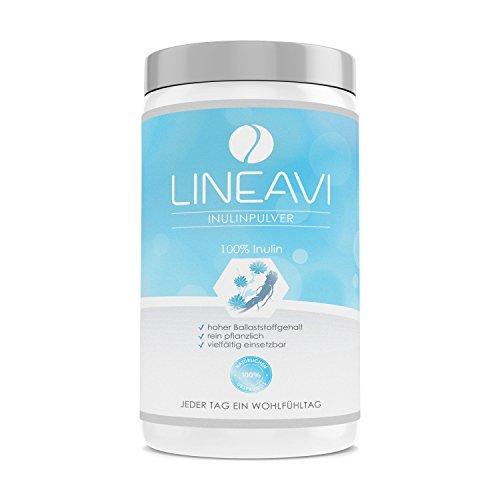 LINEAVI inulina en polvo, prebiótico, fibra prebiótica baja en calorías procedente de la raíz de la endivia, efecto positivo para la flora intestinal, fabricado en Alemania, 500 g