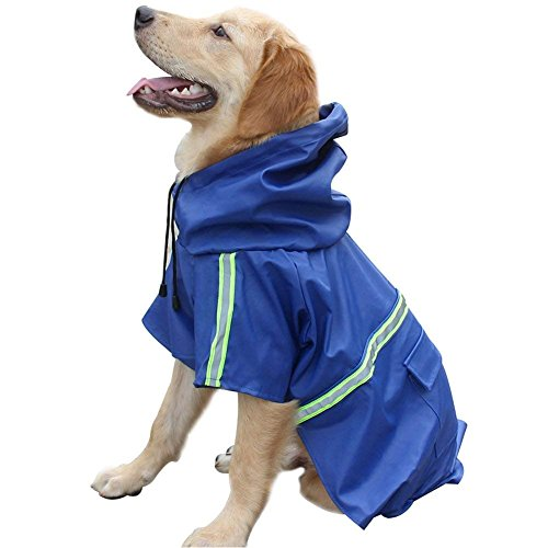 Chubasquero para perro grande ajustable a prueba de agua, ropa ligera para mascotas, poncho con tira reflectante (azul oscuro, L)