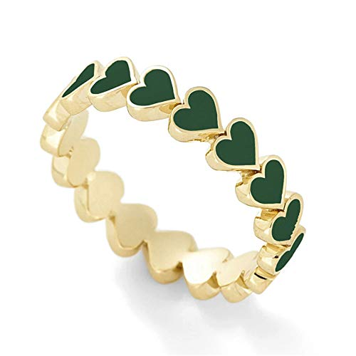 minjiSF Anillo de corazón para mujer, pequeño fresco, anillo dulce para mujer, regalo de Navidad, cumpleaños, verano, día de San Valentín, anillo para niñas, anillo de banda de alta calidad (verde, 7)
