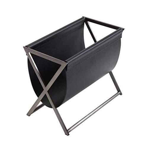 CENPEN Estante, sofá de almacenamiento en rack de almacenamiento estantería baja multifunción estante moderna sala de estar en rack rack de periódico arte de cuero rejilla de metal (Color: NEGRO, Tama