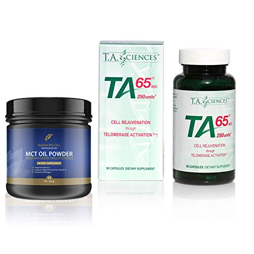 T.A. Sciences | TA-65 Supplement | 1x90 Capsules | 250 U | Free MCT Oil Powder 1