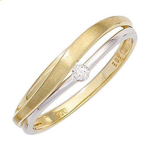 Schmuck-Krone - Goldschmuck FINERING - Anello, con Diamante, Due ori, misura 18