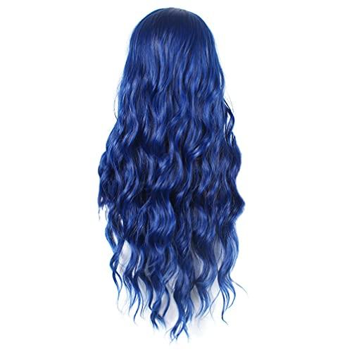 Beaupretty Peruca longa ondulada para o dia das bruxas com cabelo azul linda peruca natural